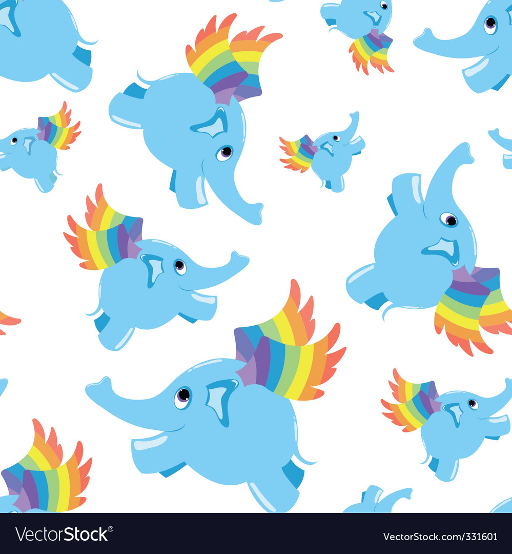 Seamless pattern blue flying elephant vector | Price: 1 Credit (USD $1)