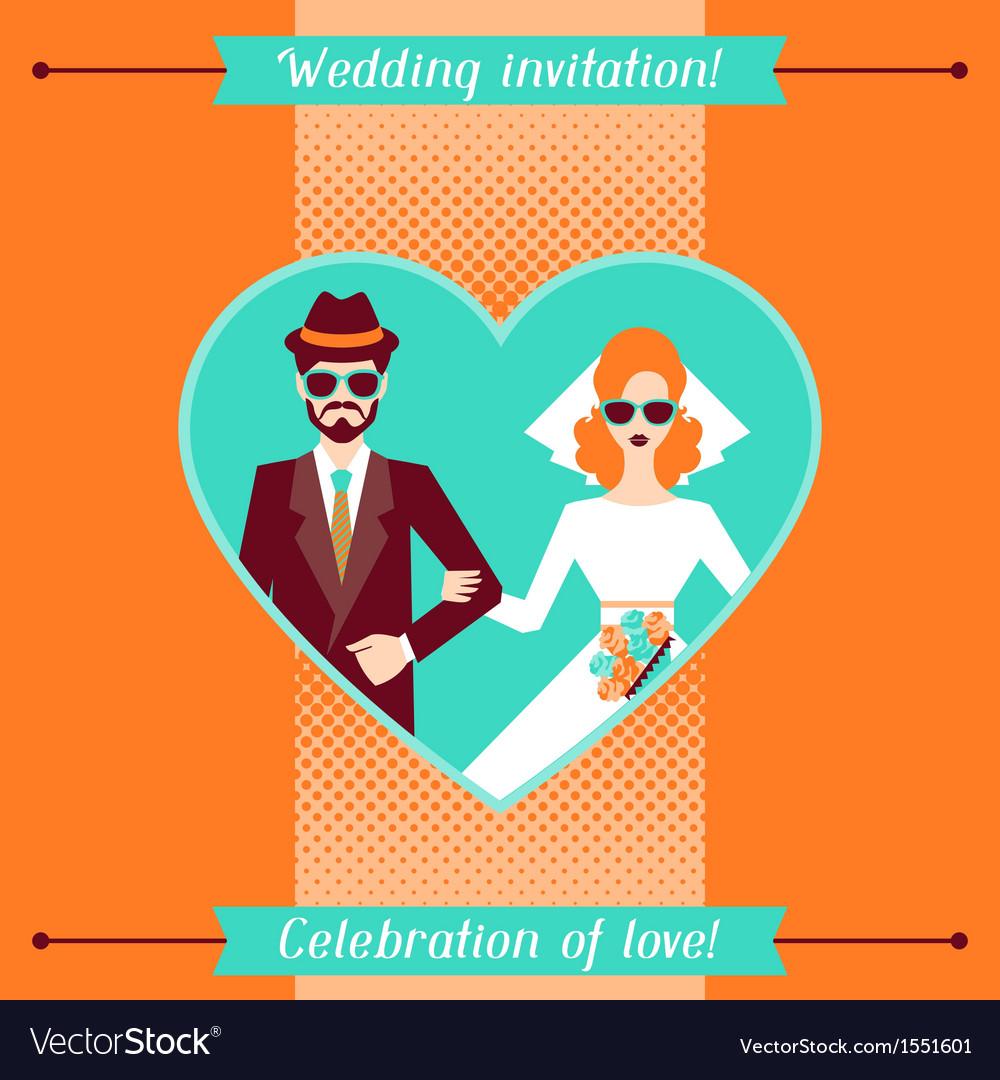 Wedding invitation card template in retro style vector | Price: 1 Credit (USD $1)