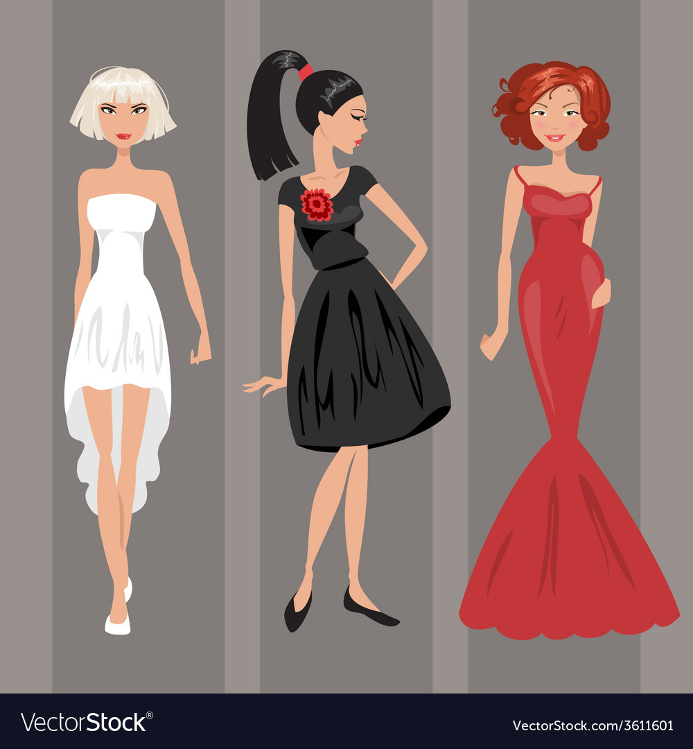 Woman in evening dress vector | Price: 1 Credit (USD $1)