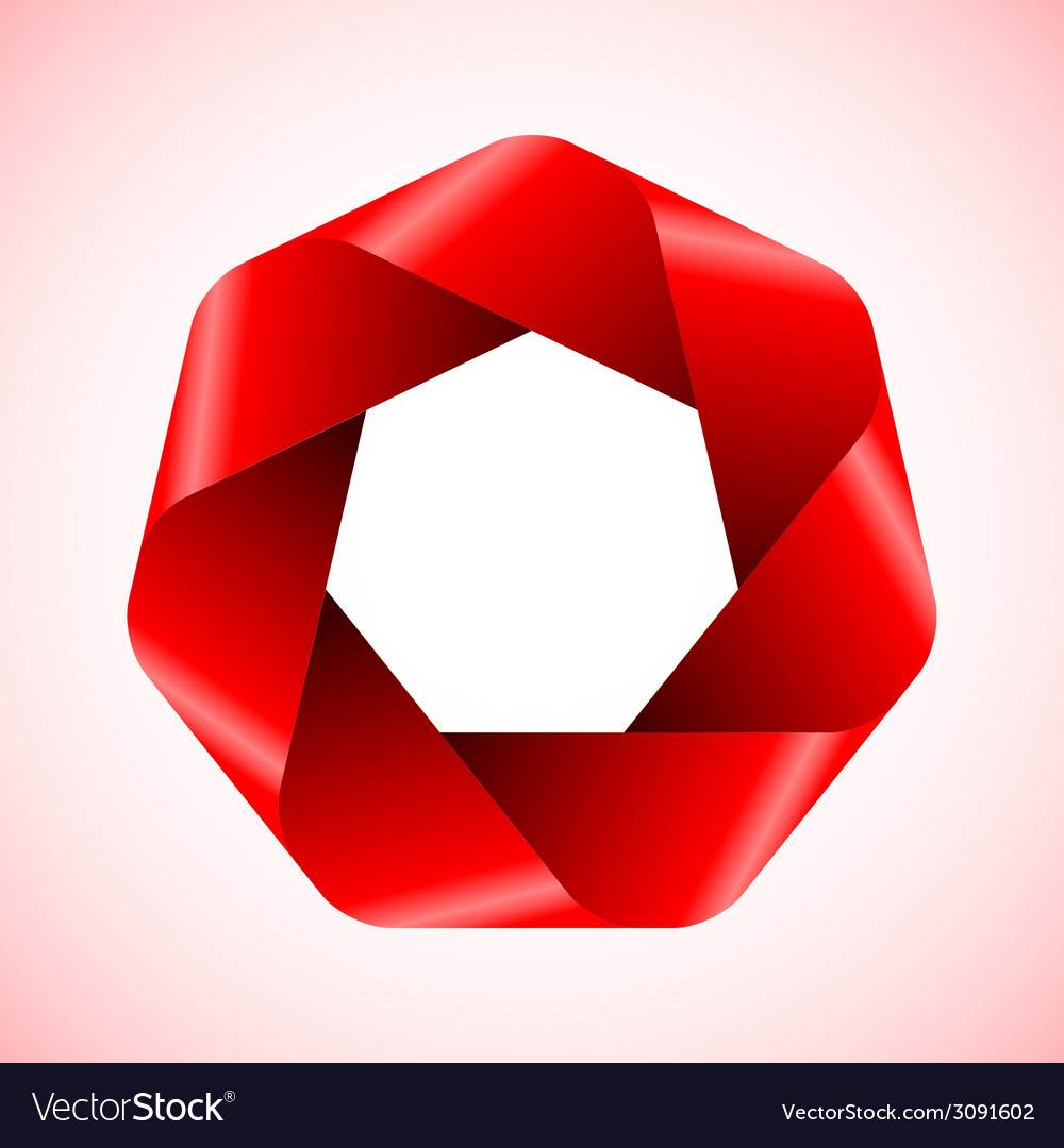 Abstract red polygon icon vector | Price: 1 Credit (USD $1)