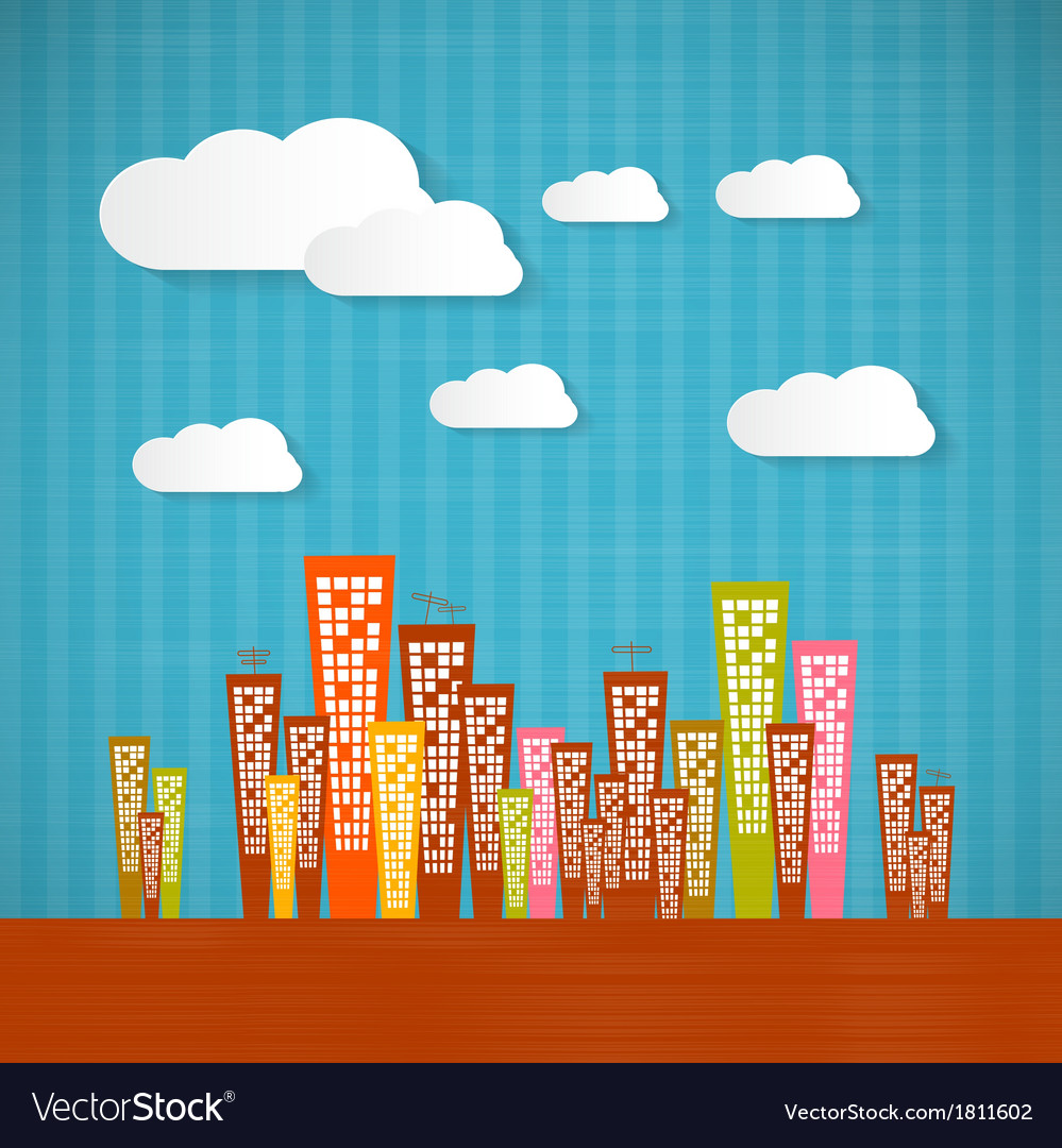 Abstract retro paper city with clouds vector | Price: 1 Credit (USD $1)