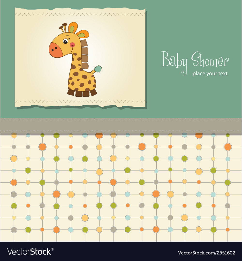 Baby shower card with giraffe vector | Price: 1 Credit (USD $1)