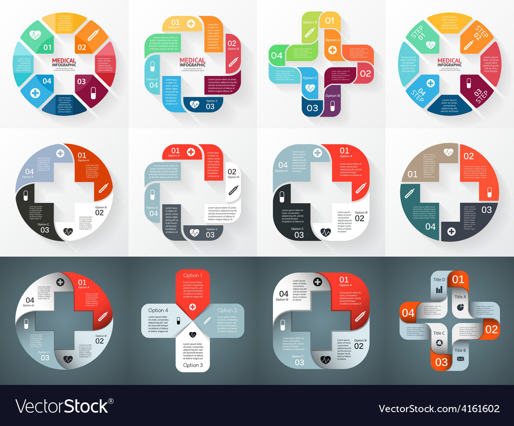 Circle plus sign infographics set template vector | Price: 1 Credit (USD $1)
