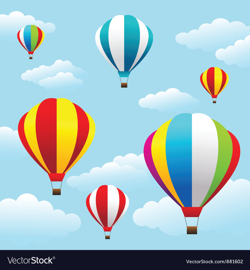Colorful air balloons on the blue sky vector | Price: 1 Credit (USD $1)