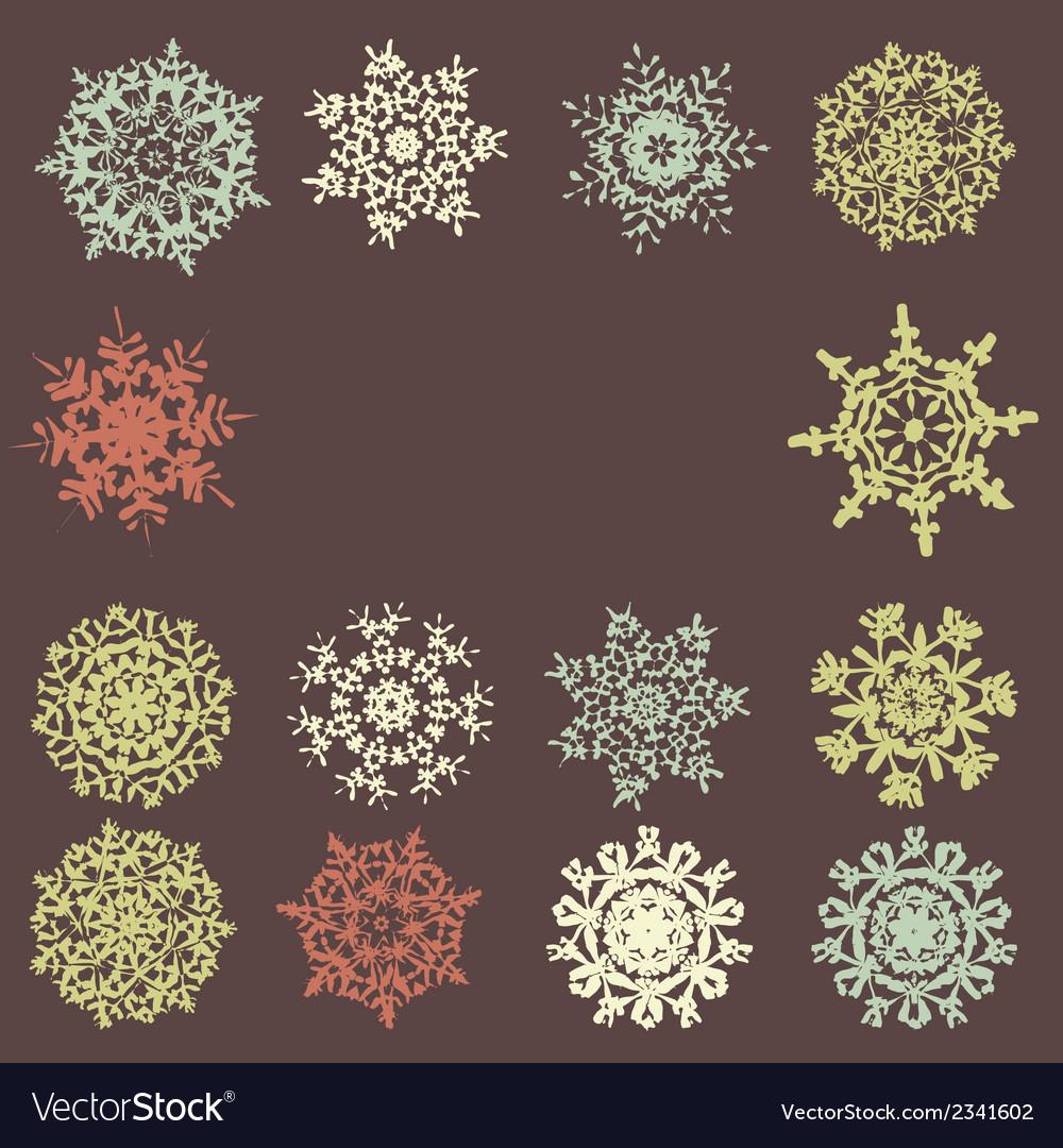 Cute retro snowflakes eps 8 vector | Price: 1 Credit (USD $1)