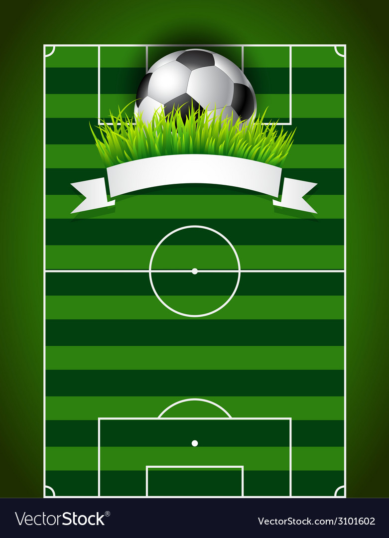 Football or soccer ball on green field background vector | Price: 1 Credit (USD $1)