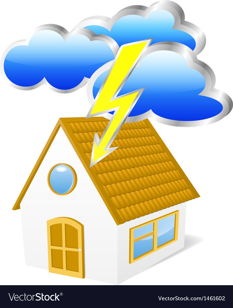 House with clouds and lightning vector | Price: 1 Credit (USD $1)