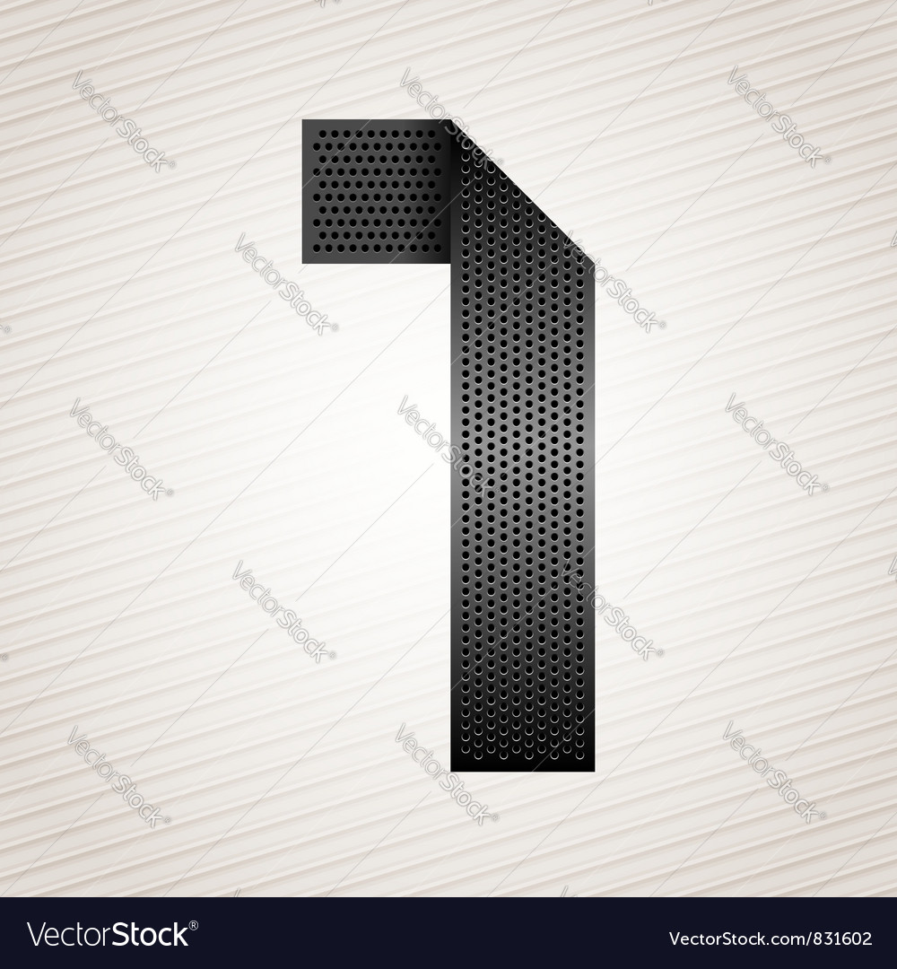 Number metal ribbon - 1 - one vector | Price: 1 Credit (USD $1)