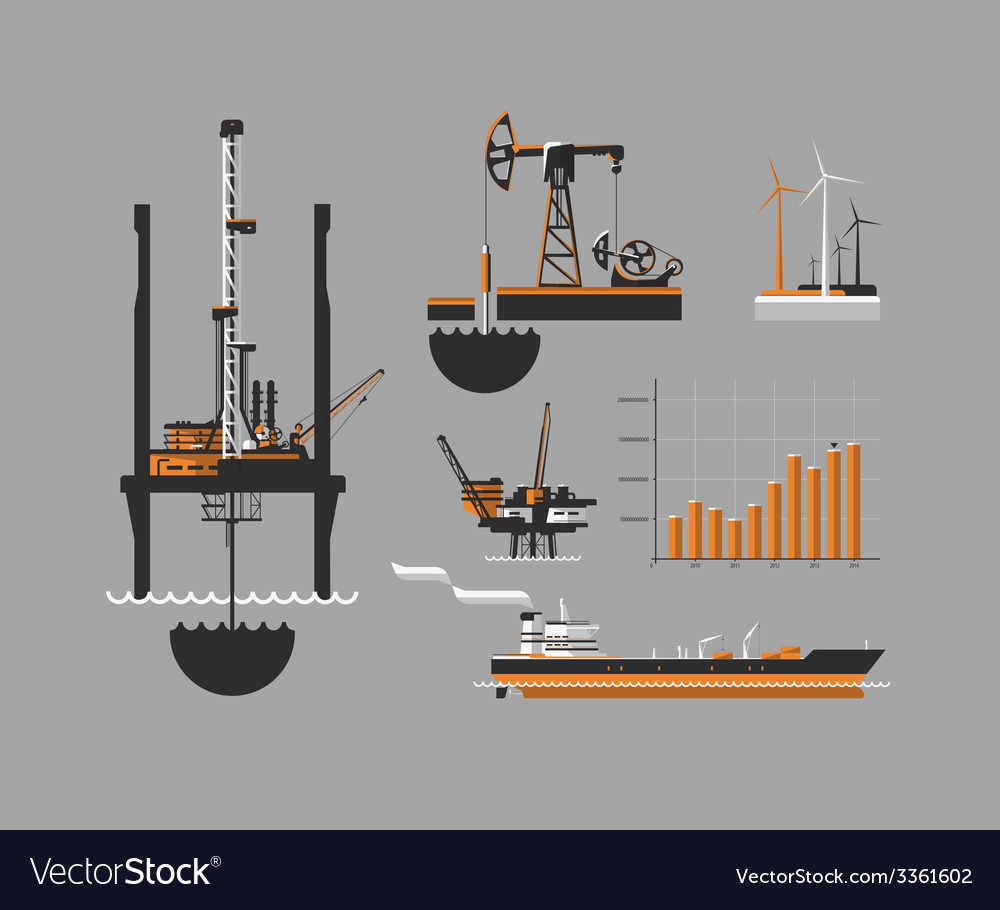 Oil and petroleum icon set vector | Price: 3 Credit (USD $3)