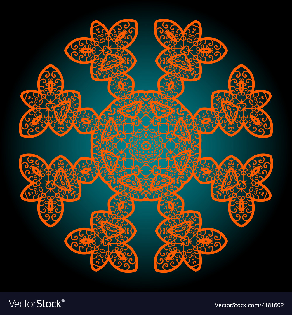 Orange outlined mandala vector | Price: 1 Credit (USD $1)