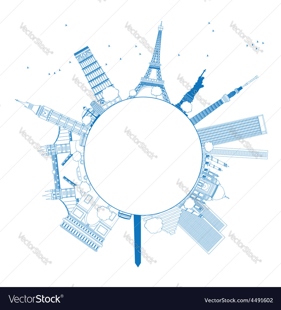 Outline famous monuments and landmarks vector | Price: 1 Credit (USD $1)