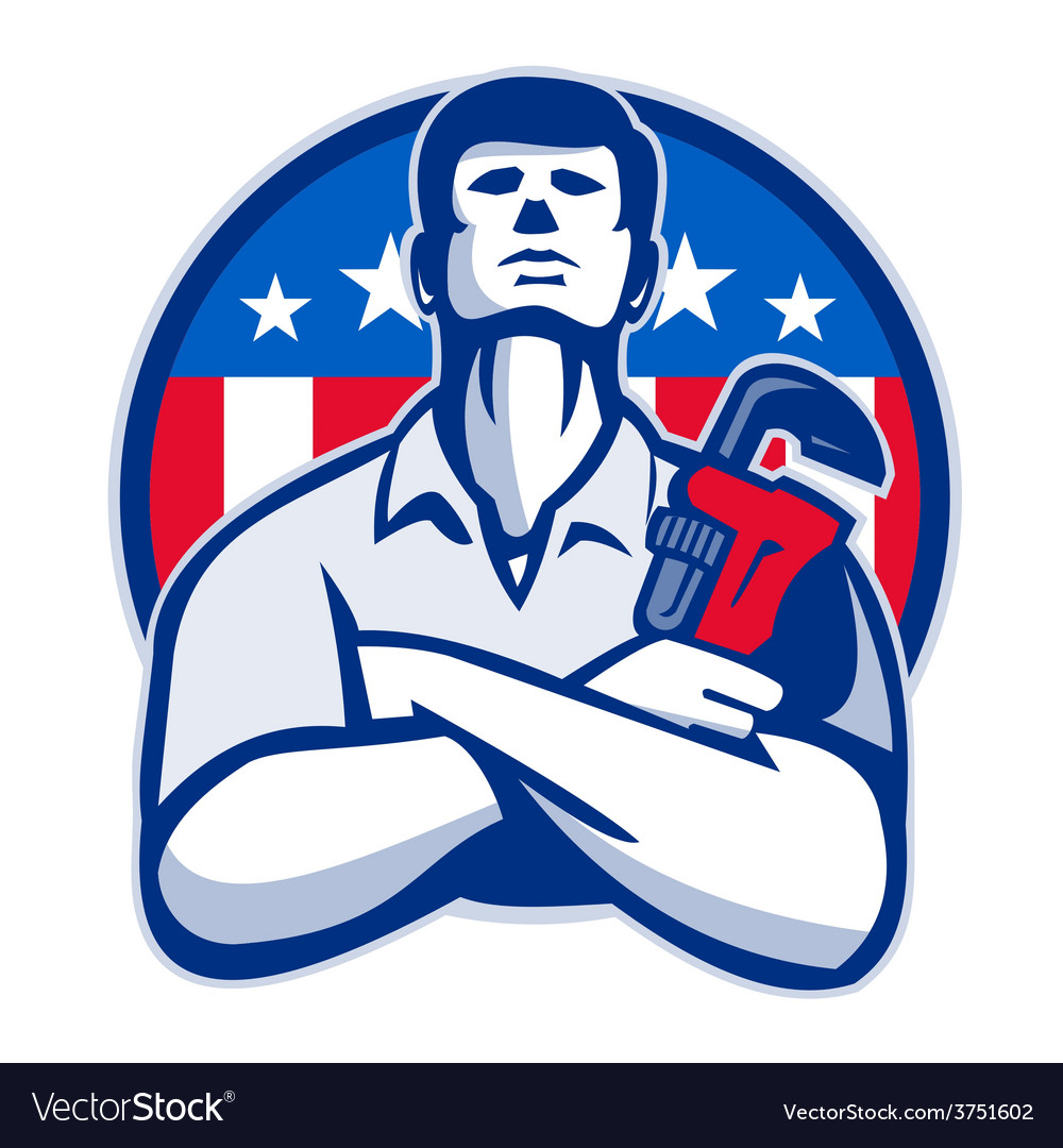 Plumber with monkey wrench american flag retro vector | Price: 1 Credit (USD $1)