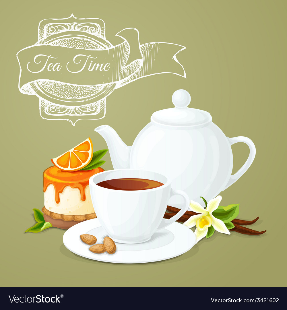 Tea party poster vector | Price: 1 Credit (USD $1)