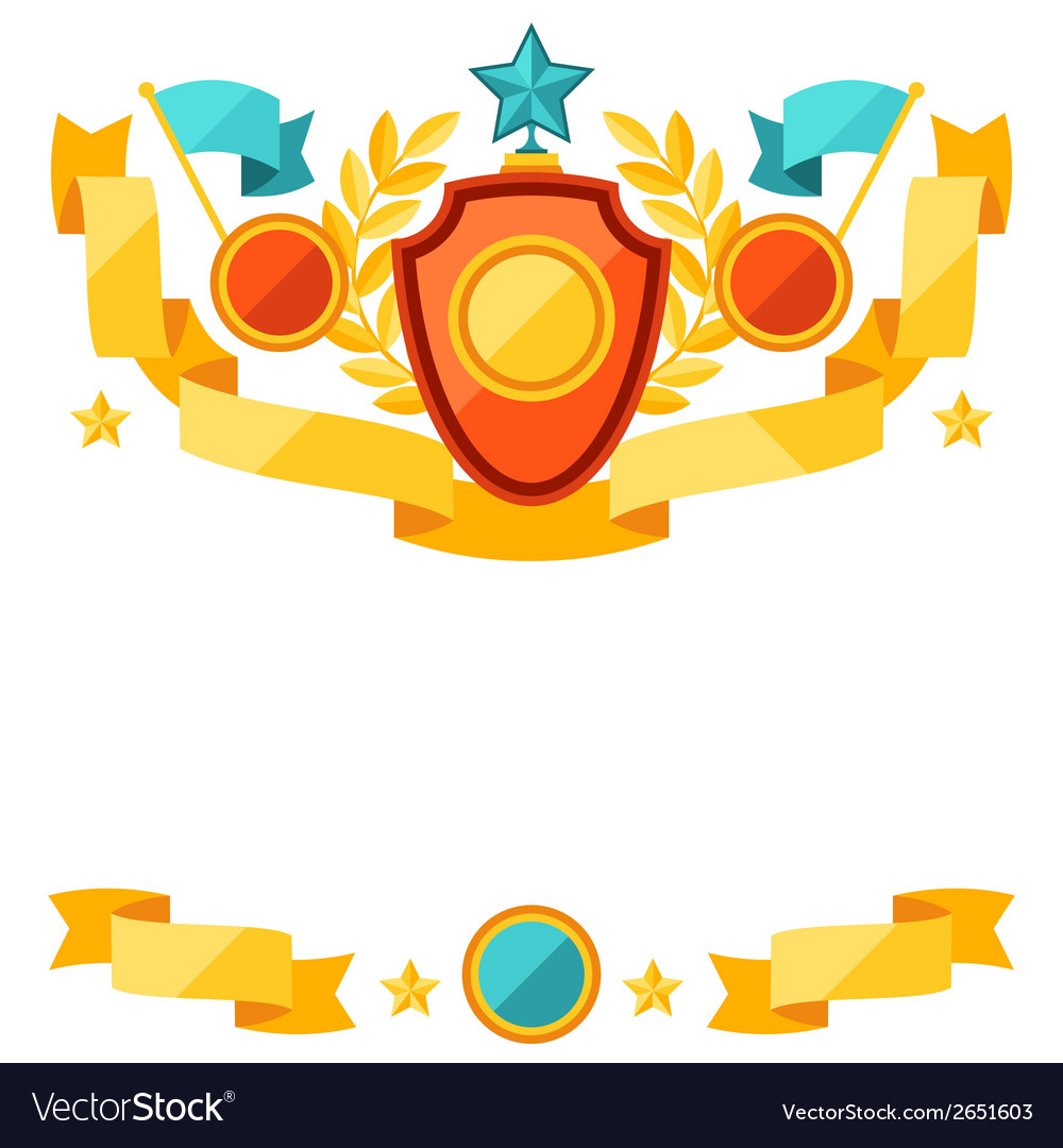 Decor with ribbons and awards in flat design style vector | Price: 1 Credit (USD $1)