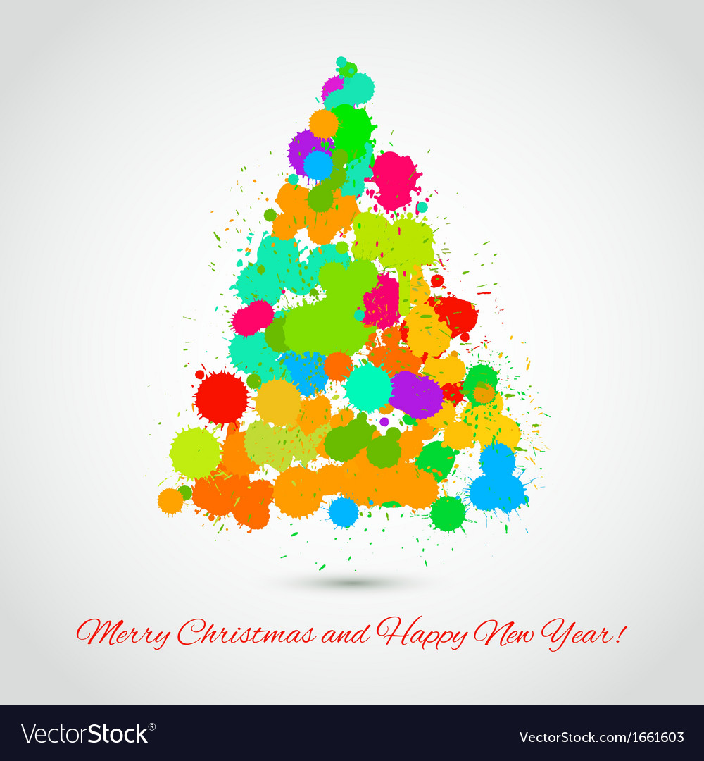Fir tree of colorful artistic stains holiday vector | Price: 1 Credit (USD $1)