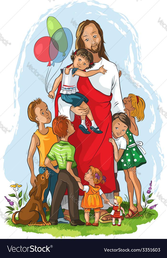 Jesus with children vector | Price: 5 Credit (USD $5)