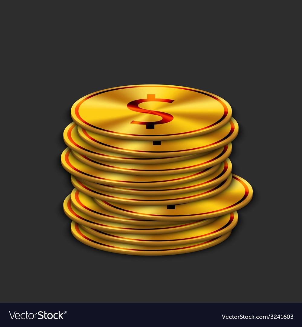Modern gold dollar on dark background vector | Price: 1 Credit (USD $1)