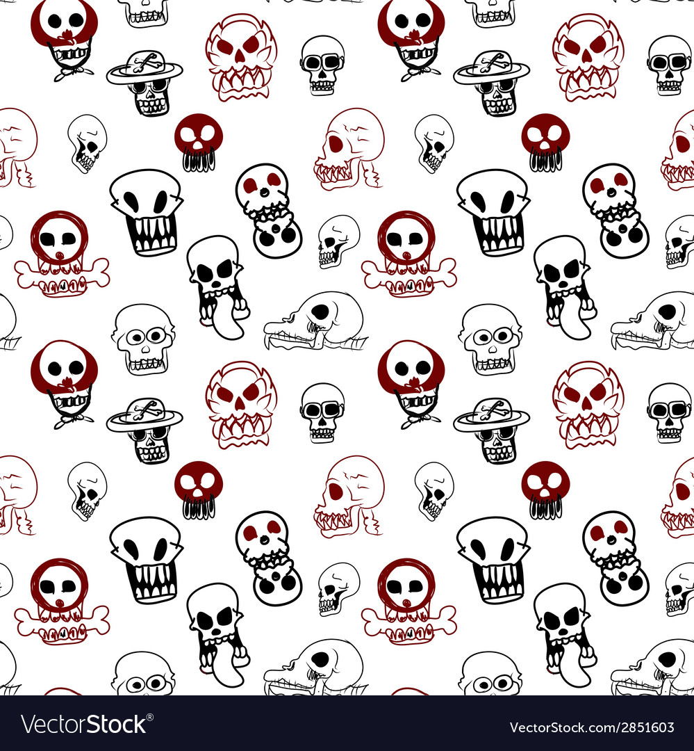 Seamless pattern of many style of skull vector | Price: 1 Credit (USD $1)