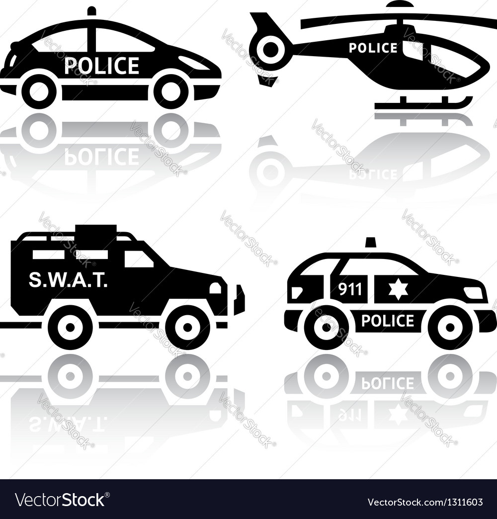 Set of transport icons - police part 2 vector | Price: 1 Credit (USD $1)