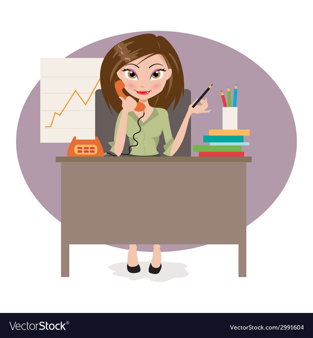 Business woman in office vector | Price: 1 Credit (USD $1)