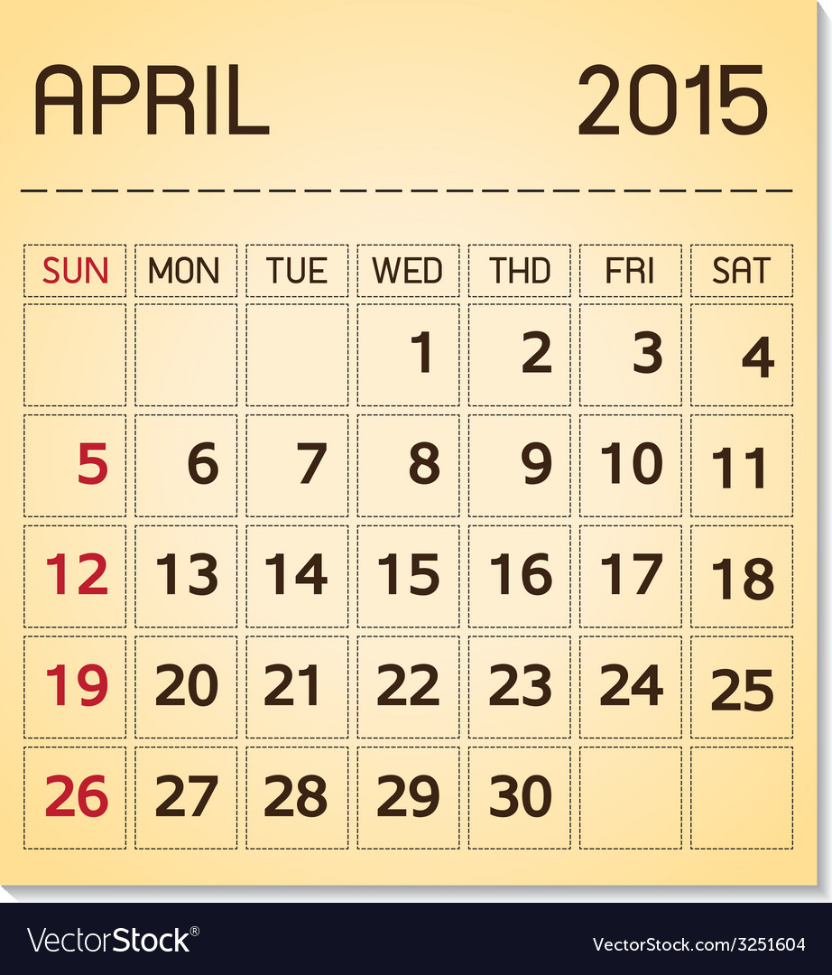 Calendar 2015 04 april vector | Price: 1 Credit (USD $1)