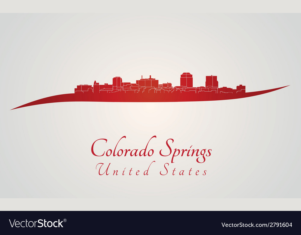 Colorado springs skyline in red vector | Price: 1 Credit (USD $1)