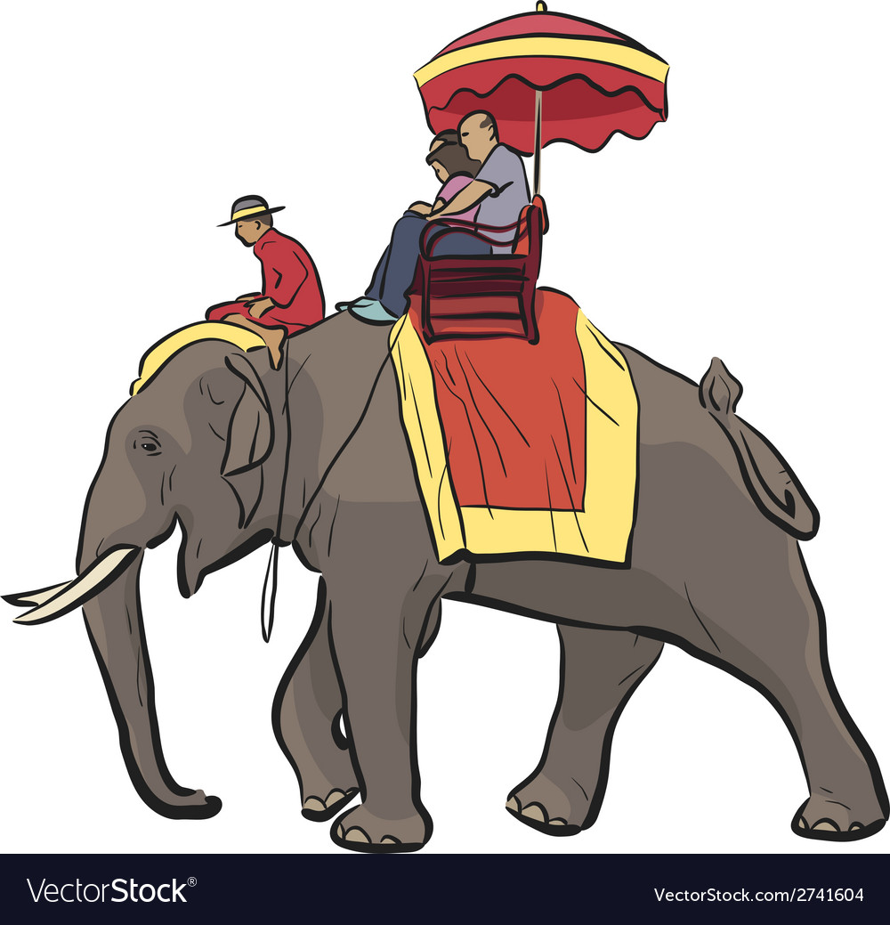 Elephant ride vector | Price: 1 Credit (USD $1)