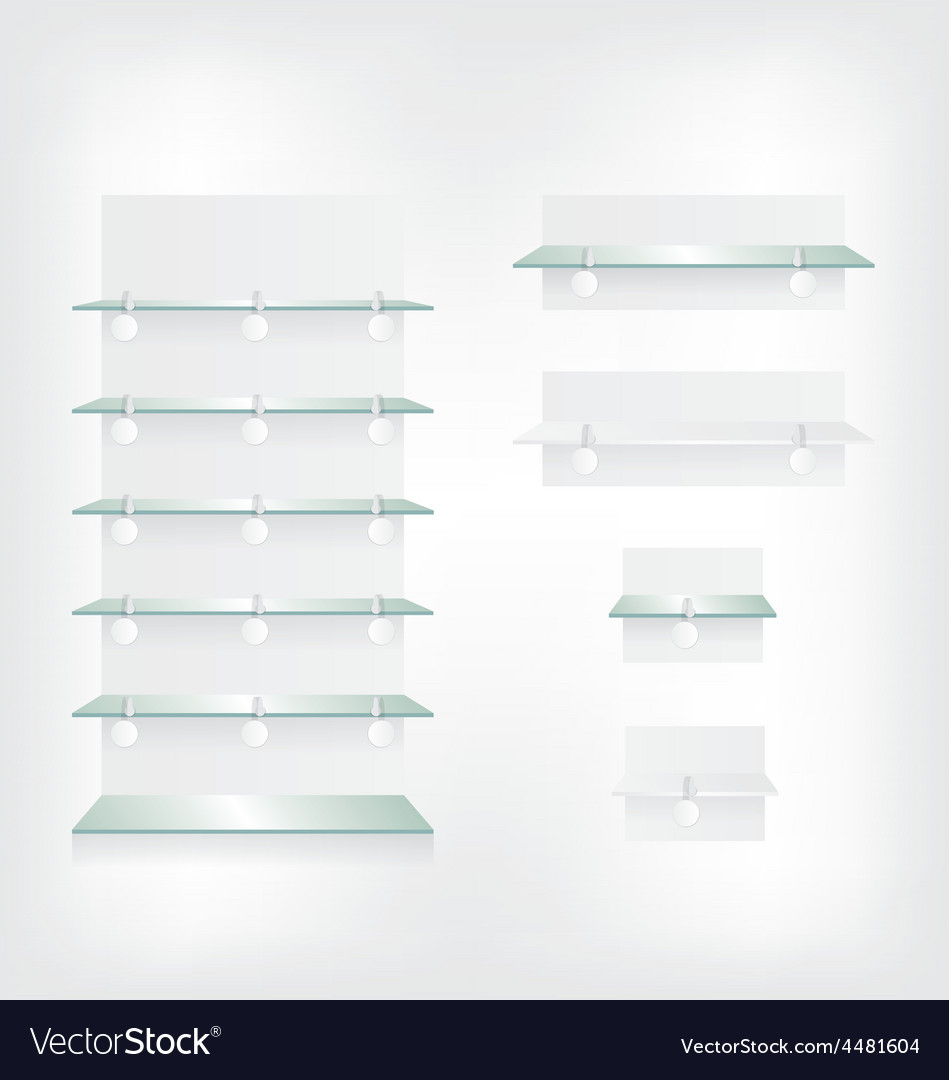 Empty shop glass shelves and wobbler vector | Price: 1 Credit (USD $1)