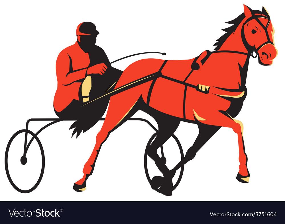 Harness horse cart racing retro vector | Price: 1 Credit (USD $1)