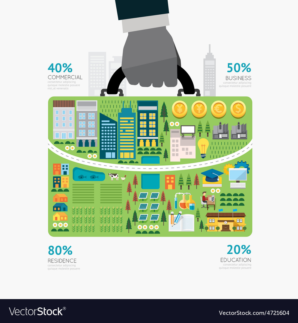 Infographic businessman hand hold business bag vector | Price: 3 Credit (USD $3)