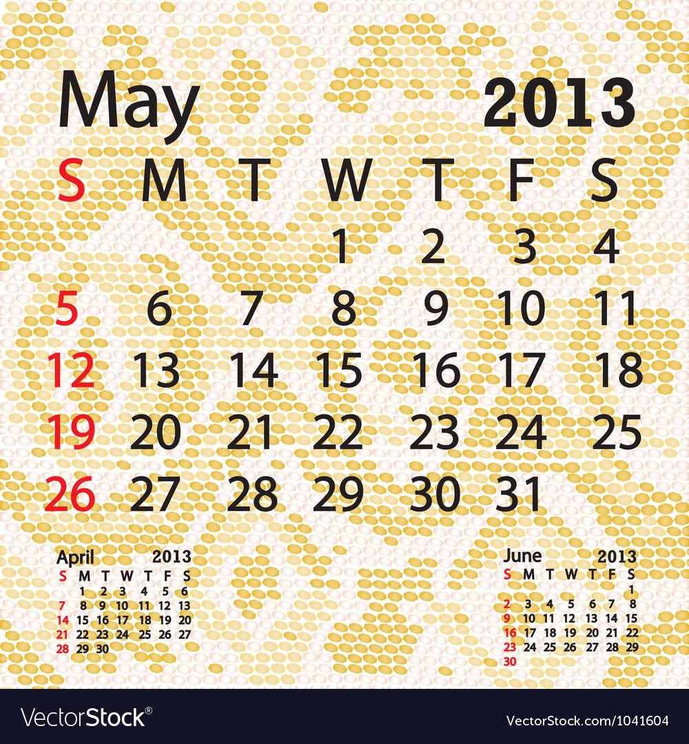 May 2013 calendar albino snake skin vector | Price: 1 Credit (USD $1)