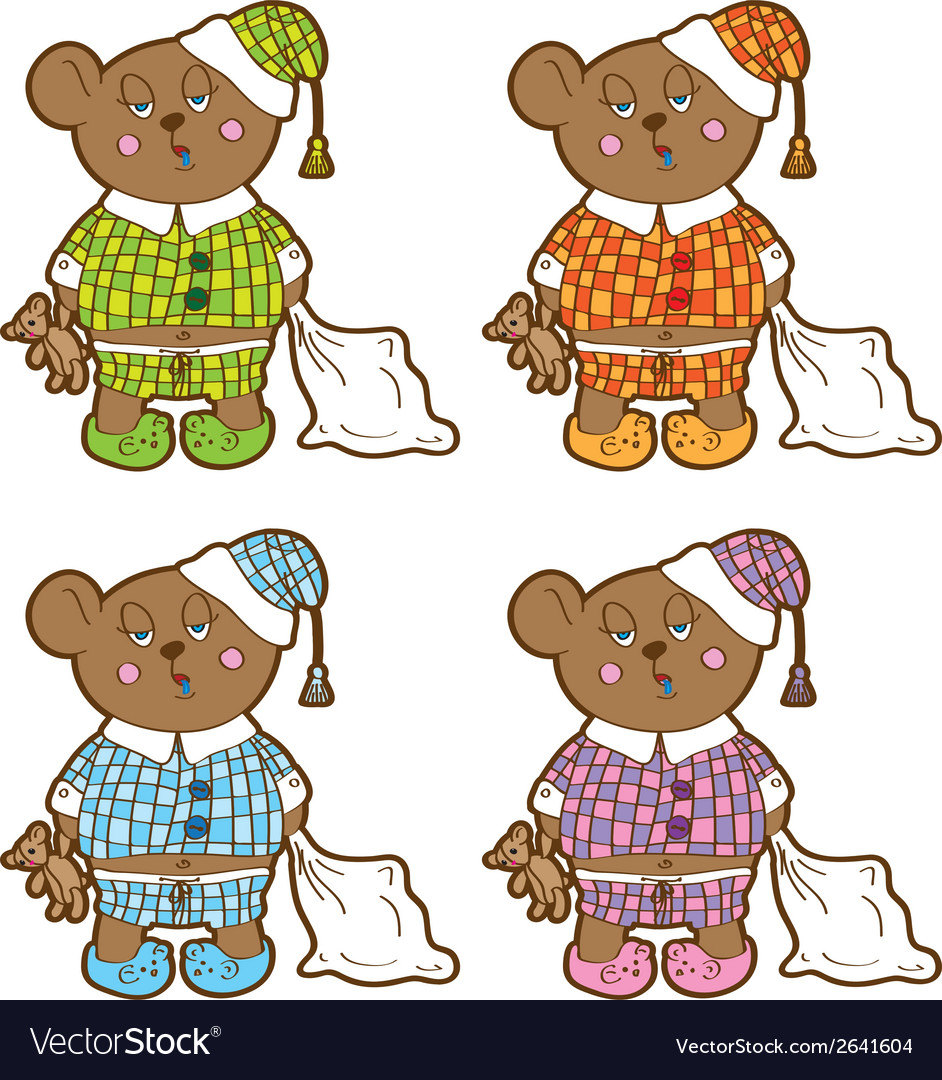 Sleepy bear in pajamas with a pillow and soft toy vector | Price: 1 Credit (USD $1)