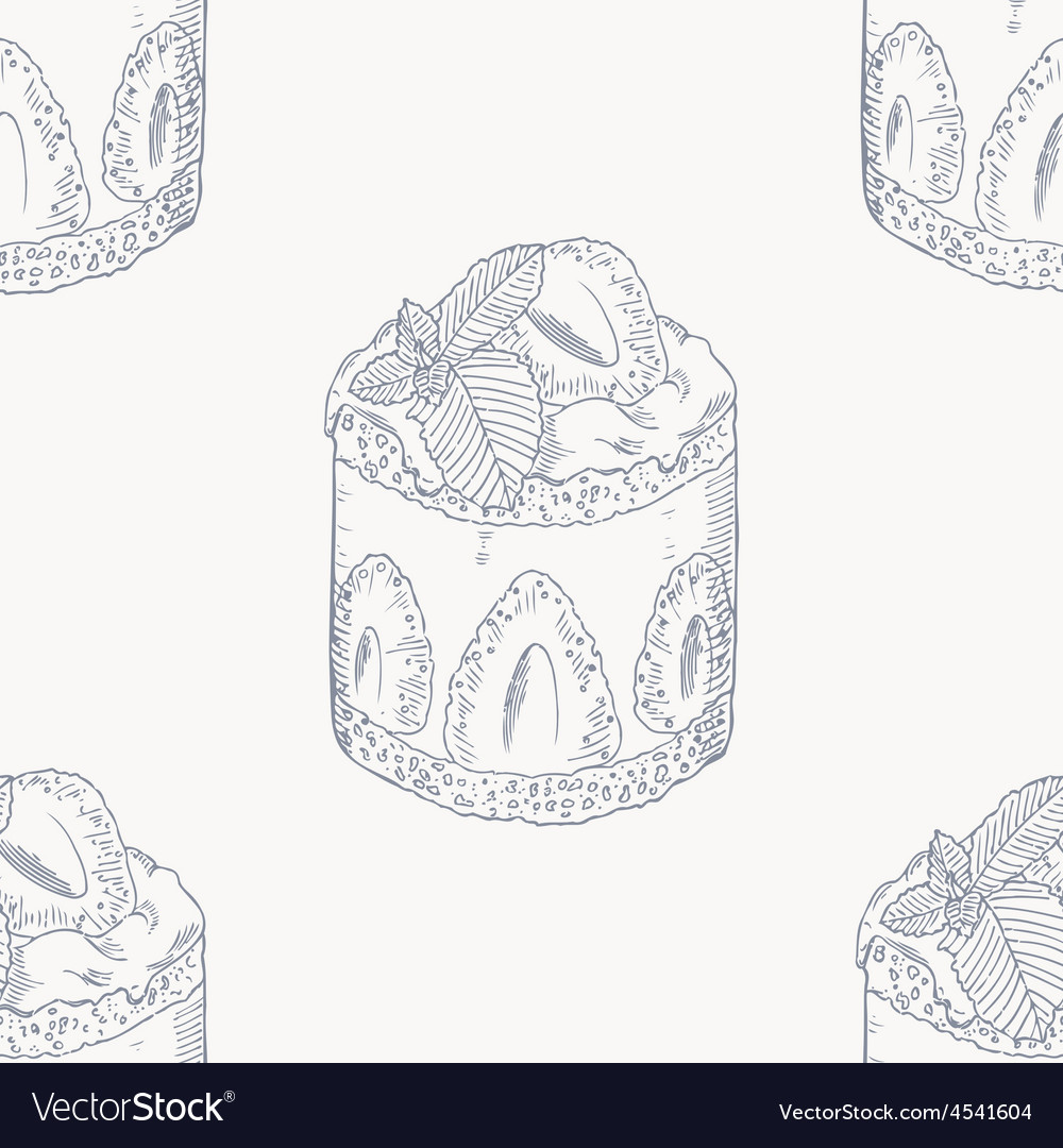 Strawberry cream cake outline seamless pattern vector | Price: 1 Credit (USD $1)