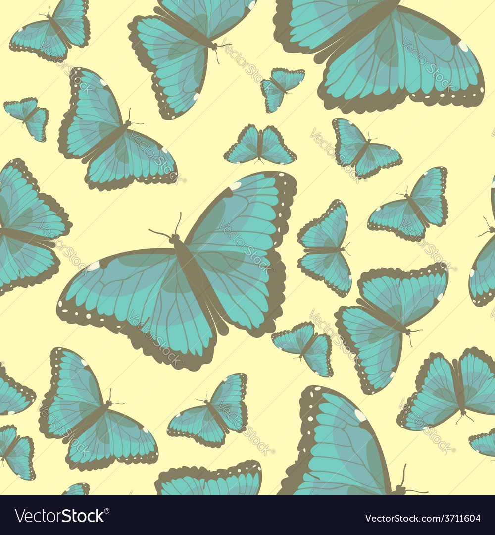 Summer seamless pattern with turquoise butterflies vector | Price: 1 Credit (USD $1)