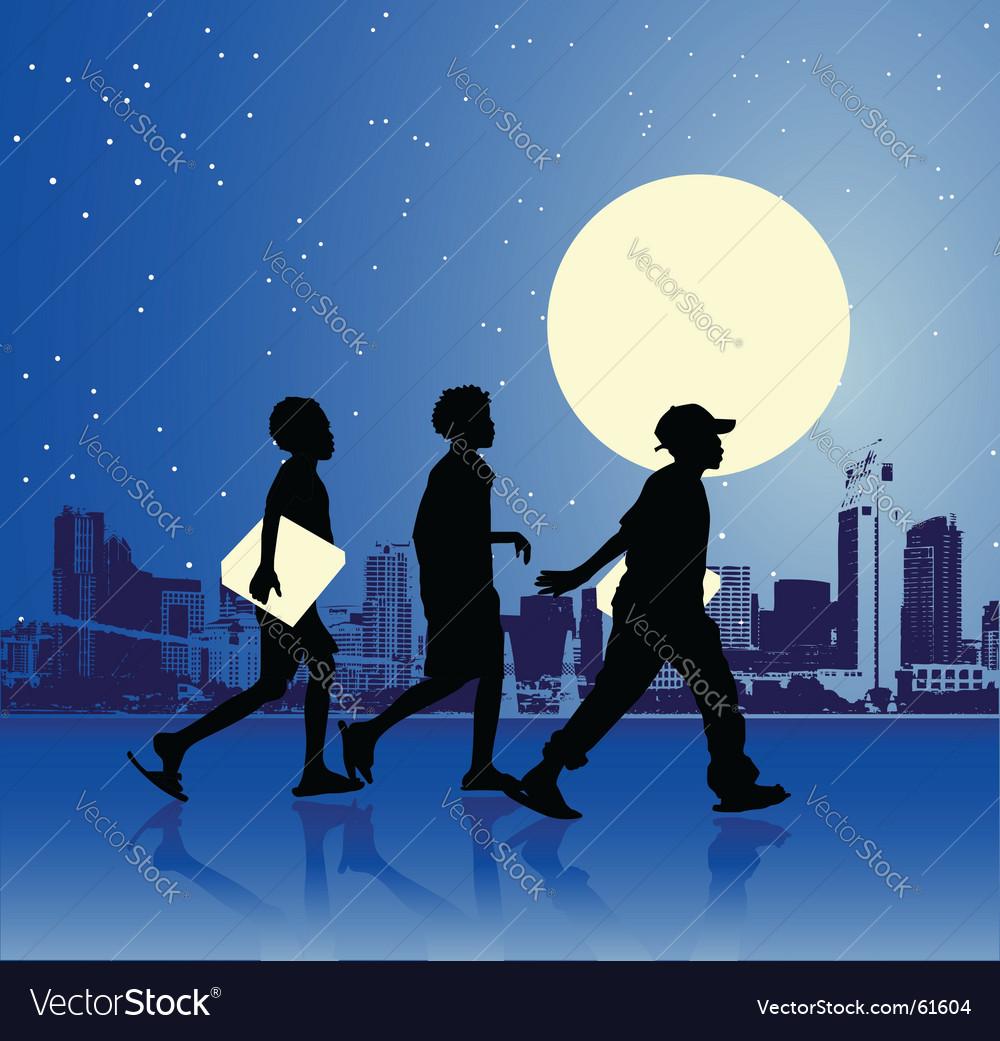 Urban teens night scene vector   Price: 1 Credit (USD $1)