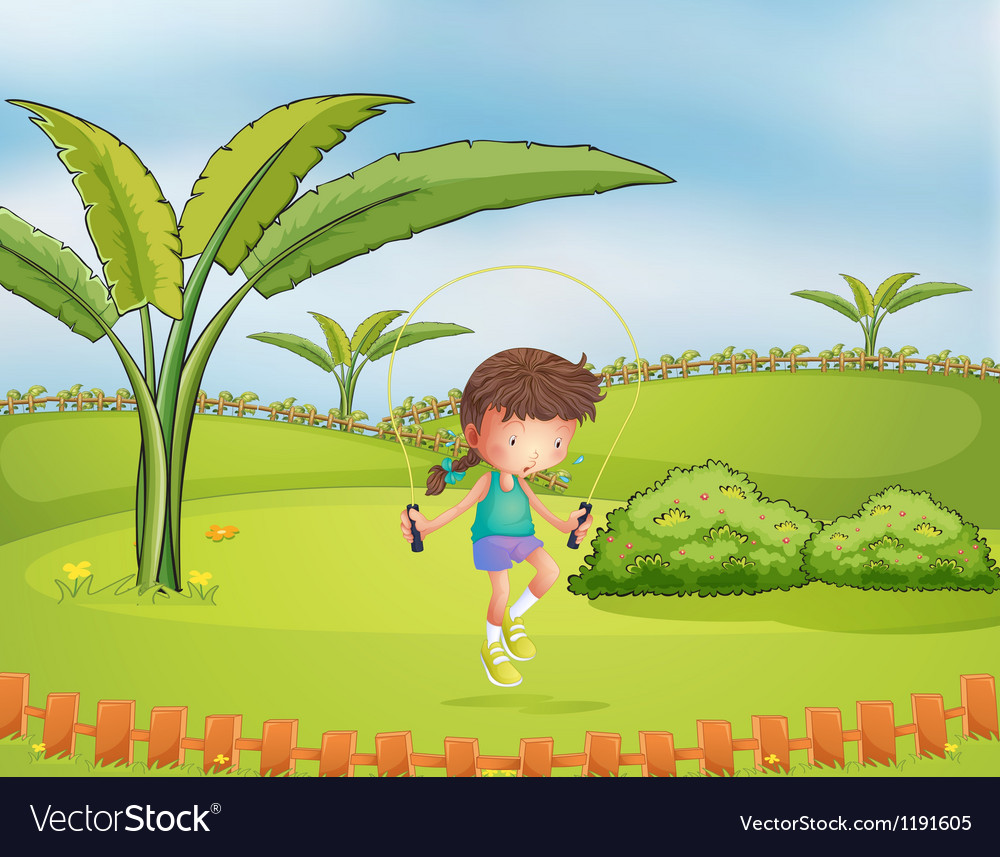 A girl playing jumping rope in the park vector | Price: 1 Credit (USD $1)