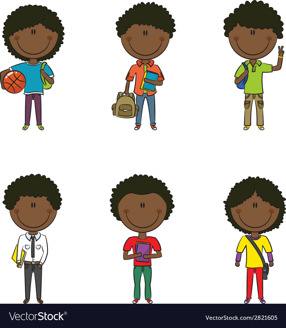 African-american school boys vector | Price: 1 Credit (USD $1)