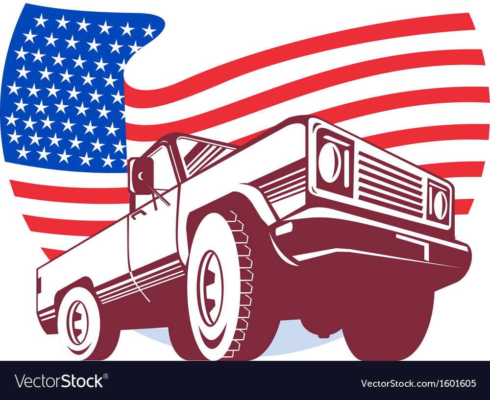 American pickup truck with flag stars and stripes vector | Price: 1 Credit (USD $1)