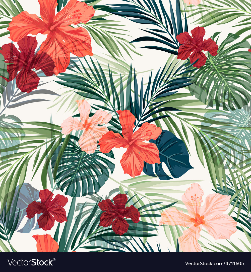 Bright colorful tropical seamless background with vector | Price: 1 Credit (USD $1)