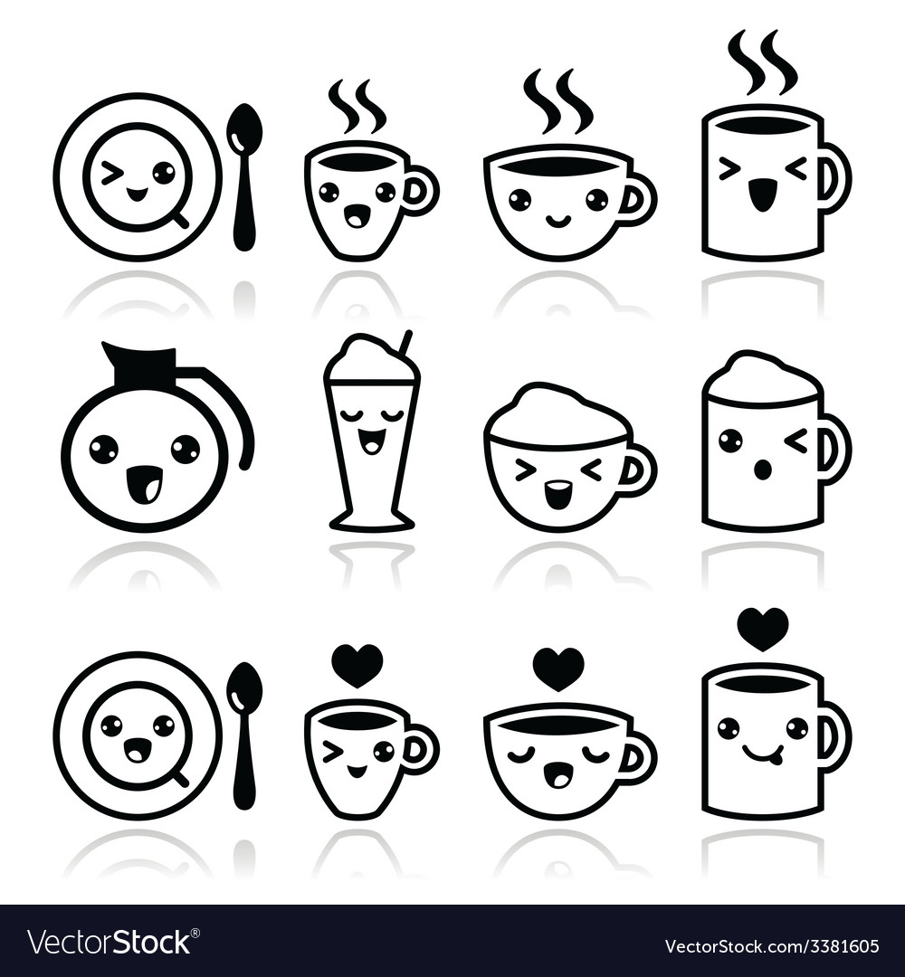 Cute coffee cappuccino and espresso kawaii icons vector | Price: 1 Credit (USD $1)
