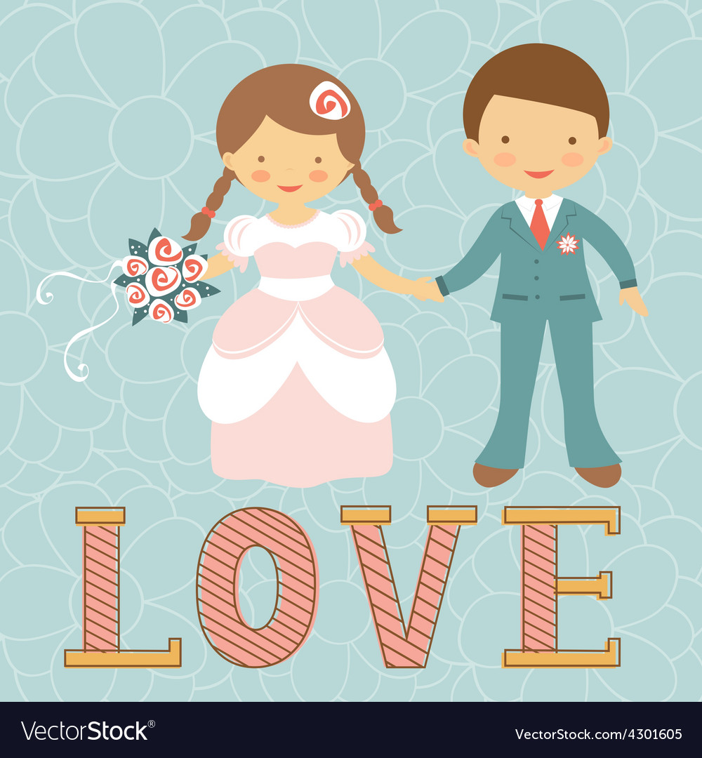 Cute wedding couple vector | Price: 1 Credit (USD $1)
