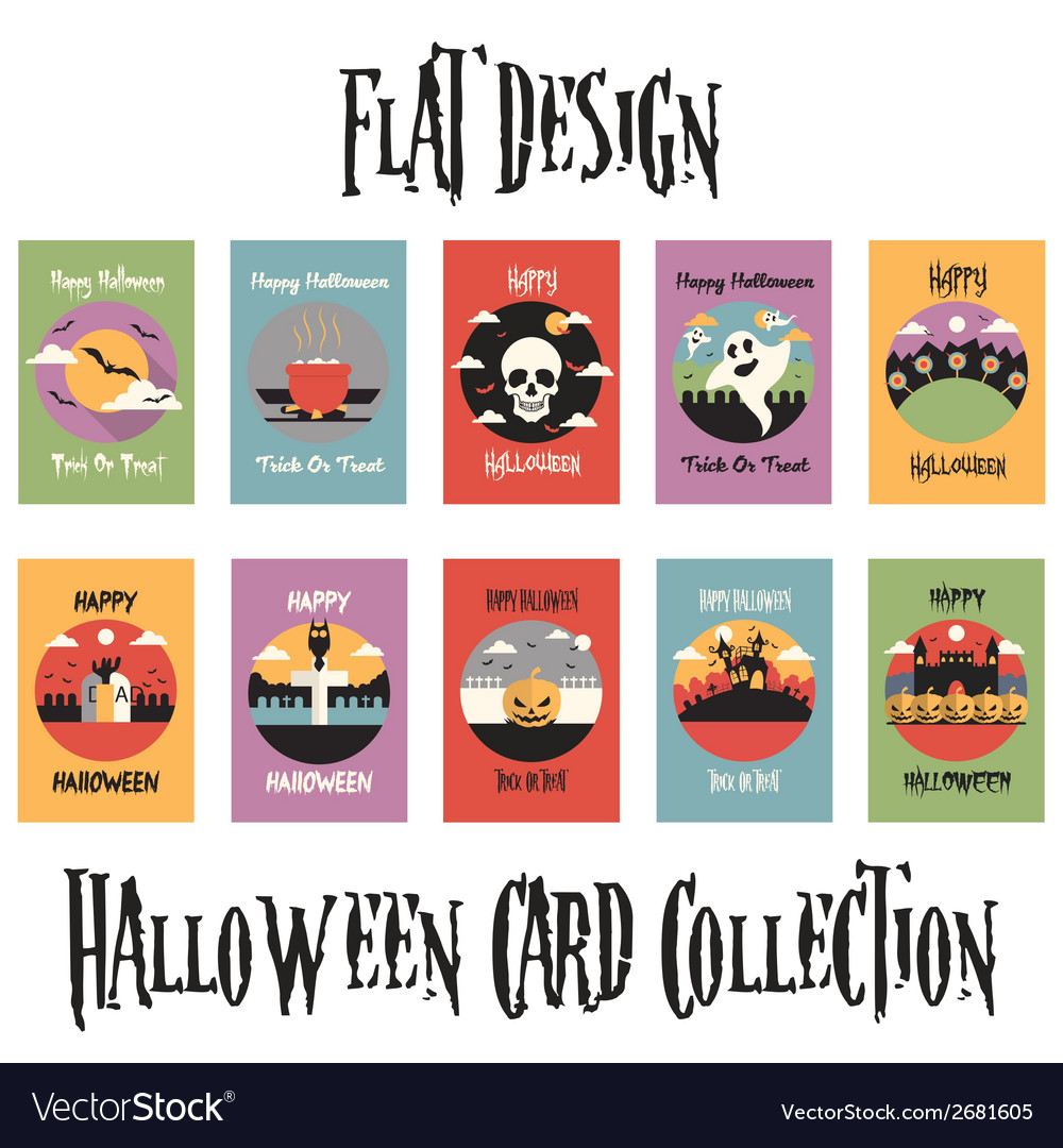 Flat design halloween card collection vector | Price: 1 Credit (USD $1)