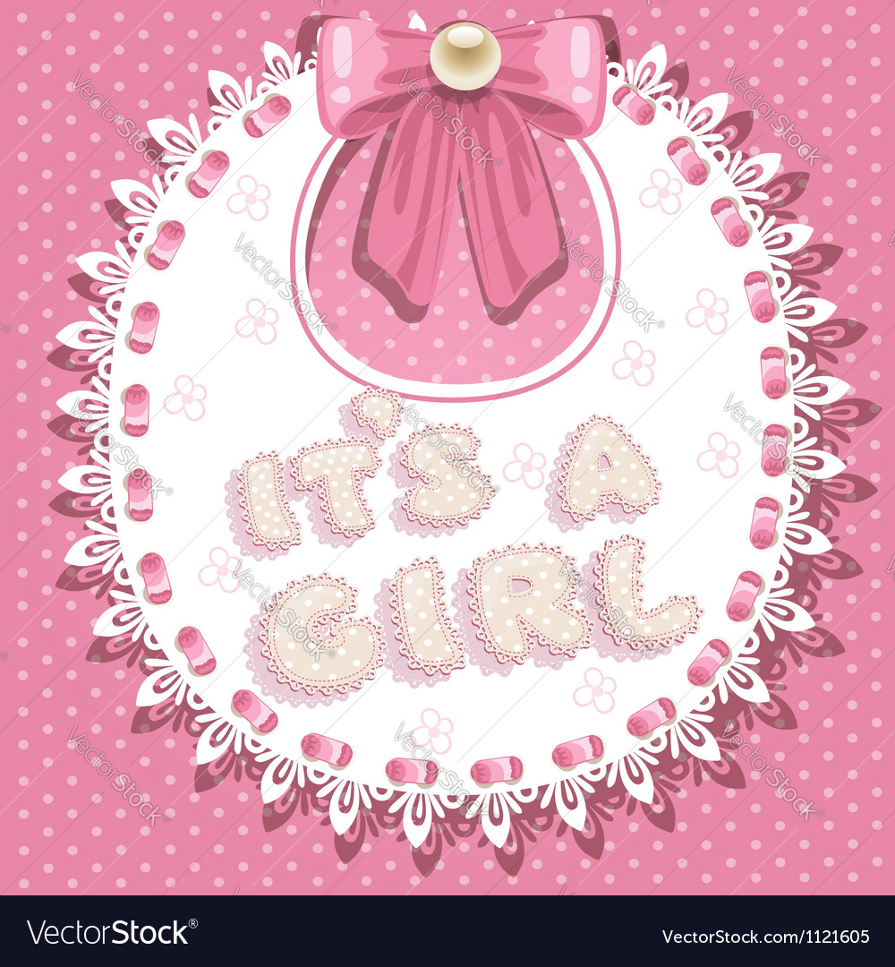 Its a girl baby shower on pink bib vector | Price: 1 Credit (USD $1)