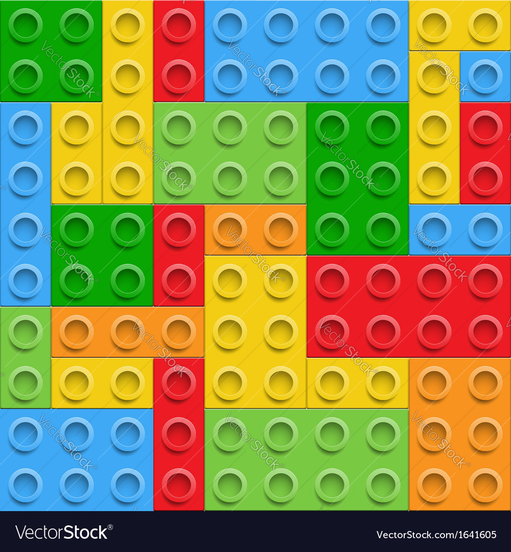 Plastic construction blocks seamless background vector | Price: 1 Credit (USD $1)