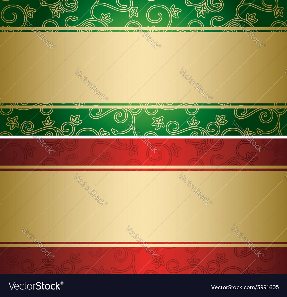 Red and green backgrounds with golden decor - card vector | Price: 1 Credit (USD $1)