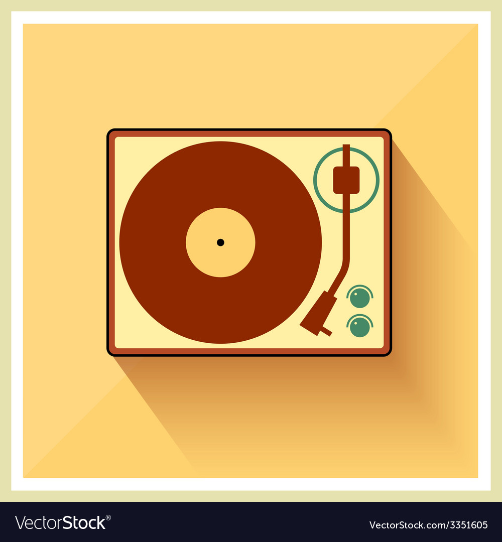 Retro turntable vinyl record player vector | Price: 1 Credit (USD $1)