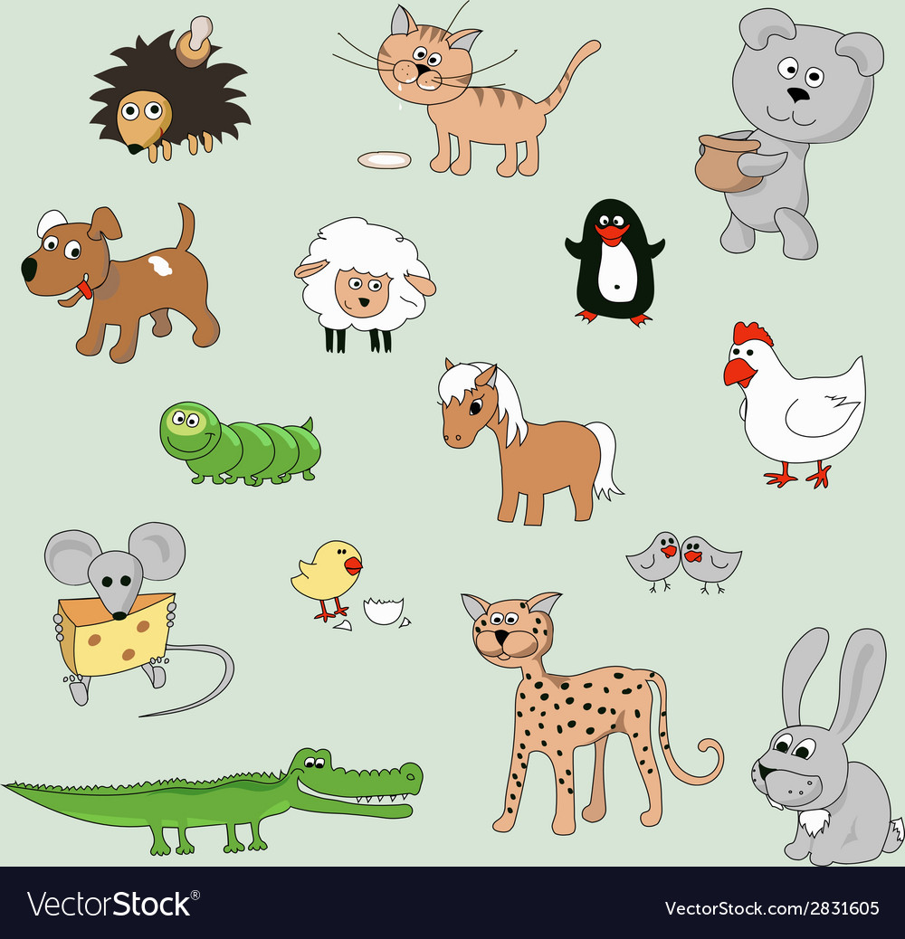 Set of various cartoon animals and birds vector | Price: 1 Credit (USD $1)