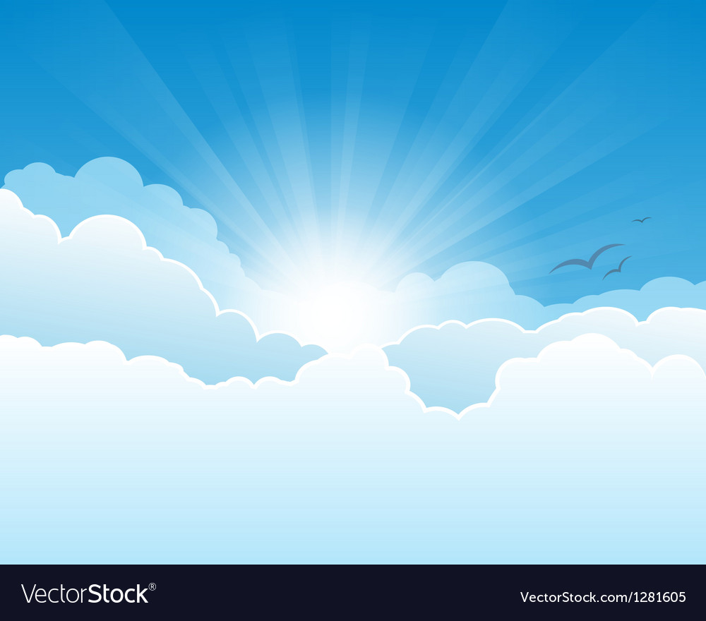 Sky with clouds and sun rays background vector | Price: 1 Credit (USD $1)