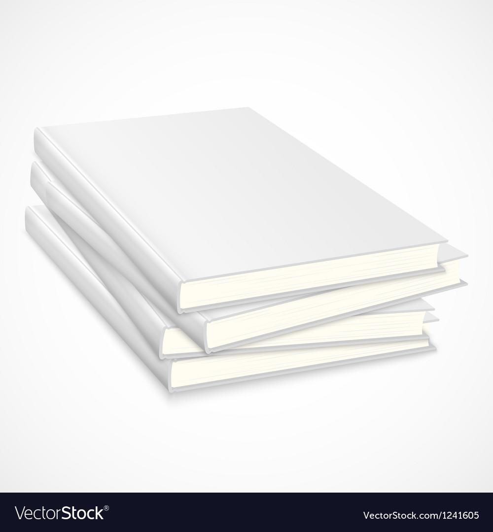 Stack of empty books with white cover vector | Price: 1 Credit (USD $1)