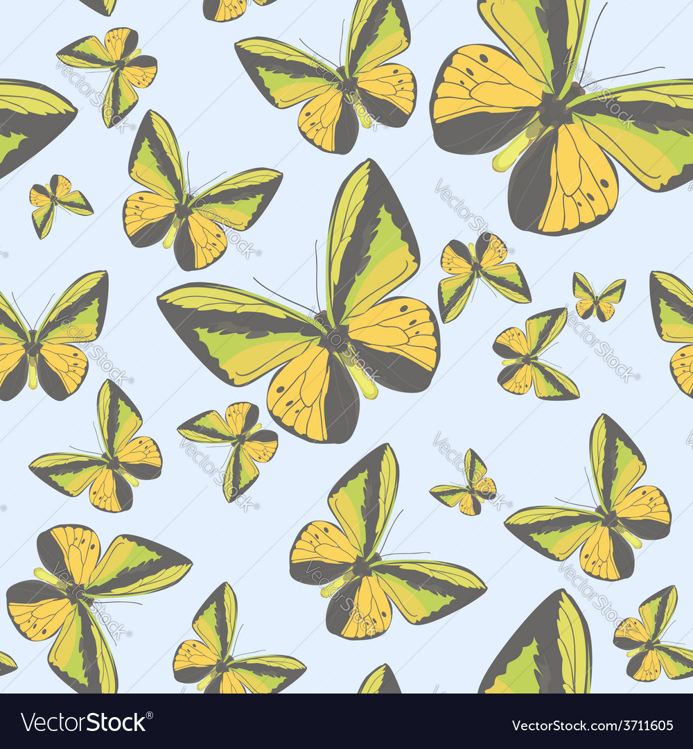 Summer seamless pattern with yellow butterflies vector | Price: 1 Credit (USD $1)